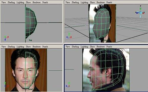 三视图中,用放大缩小工具调整模型大小,使大略符合照片中人头高清图片