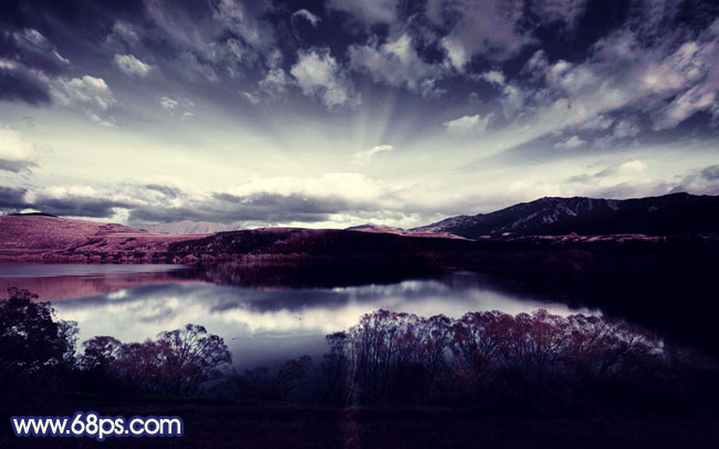photoshop打造暗调蓝红色风景图片-教程-创意在线