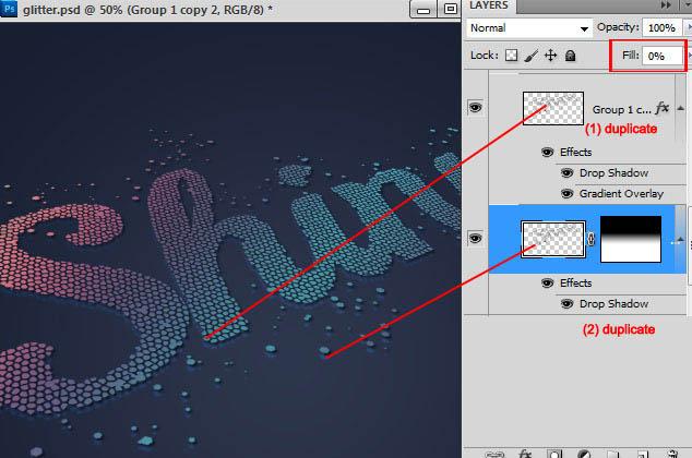 修改一下投影的颜色,去掉渐变叠加,确定后把填充改为:0%.-