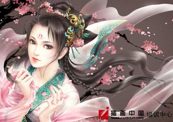 清朝女古装手绘插画