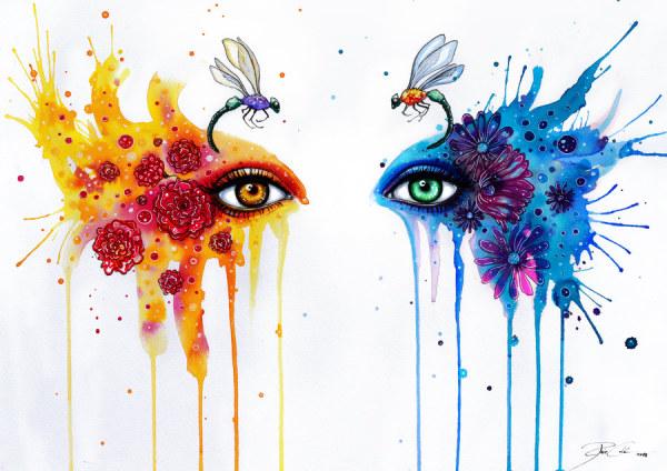 2013广告设计大赛_PixieCold水彩插画漂亮的眼睛-欣赏-创意在线