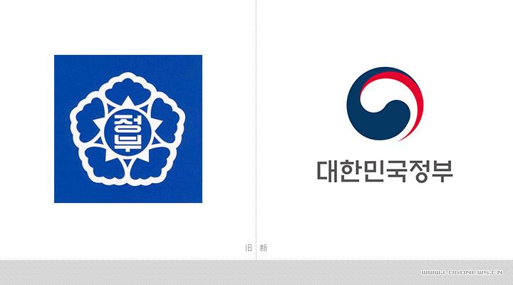 新的政府标志由韩国国旗中的青